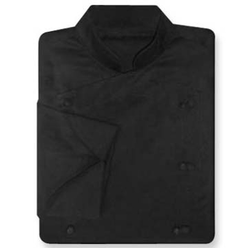 Venetian Chef Coat in Black Twill with Knot Buttons