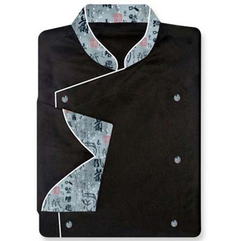 Venetian Chef Coat in Black with Asian Inspiration Accents