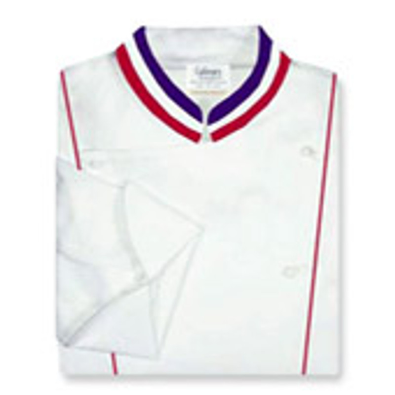 Corded Chef Coat in White Egyptian Cotton with Tri-Color Collar Ribbon