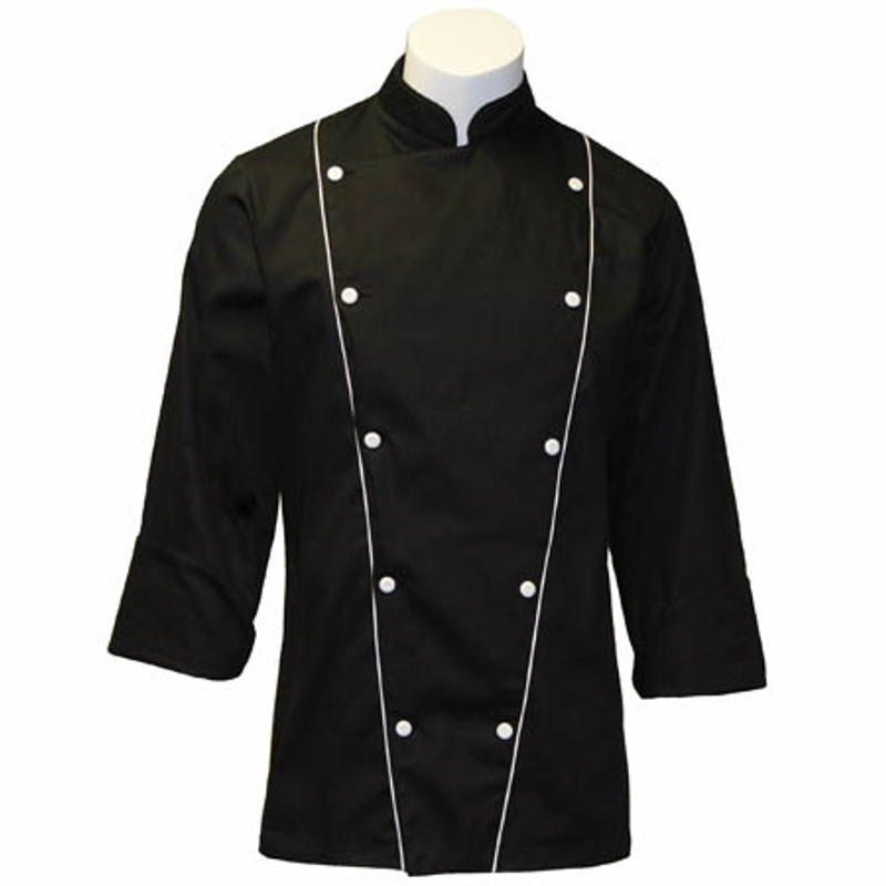 Corded Chef Coat in Black Twill with White Accents