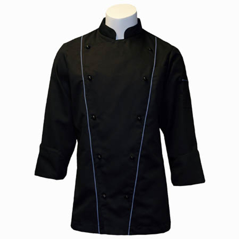 Corded Chef Coat in Black Fineline Twill with Palette Blue Cording