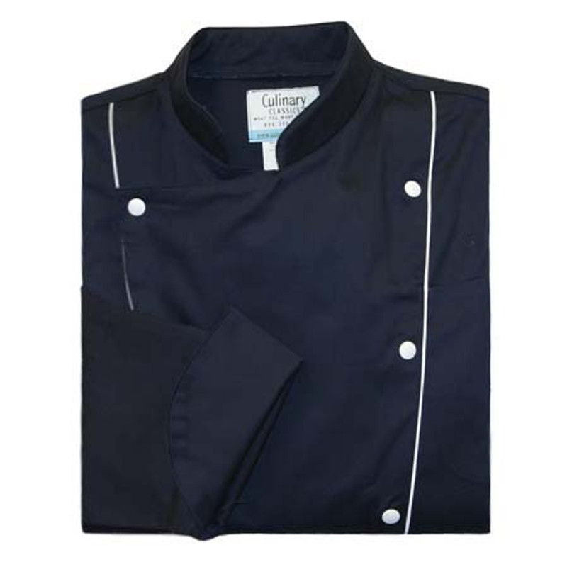 Corded Chef Coat in Navy Cotton Twill with White Accents