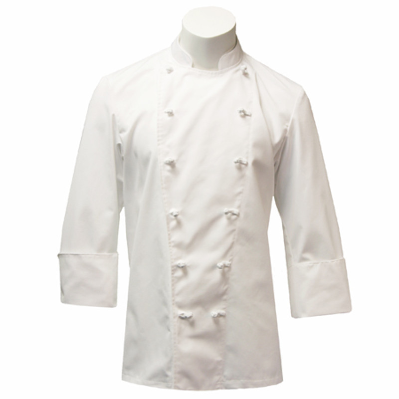 Traditional Chef Coat in White 100% Midweight Cotton with Knot Buttons
