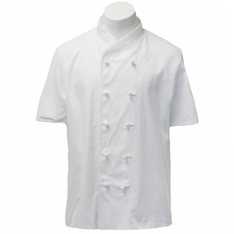 Imperial Chef Coat in White Midweight Cotton with Short Sleeves
