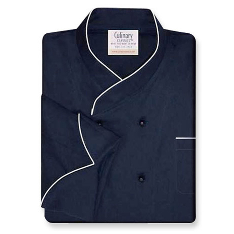 Imperial Chef Coat in Navy Cotton Twill with White Accents
