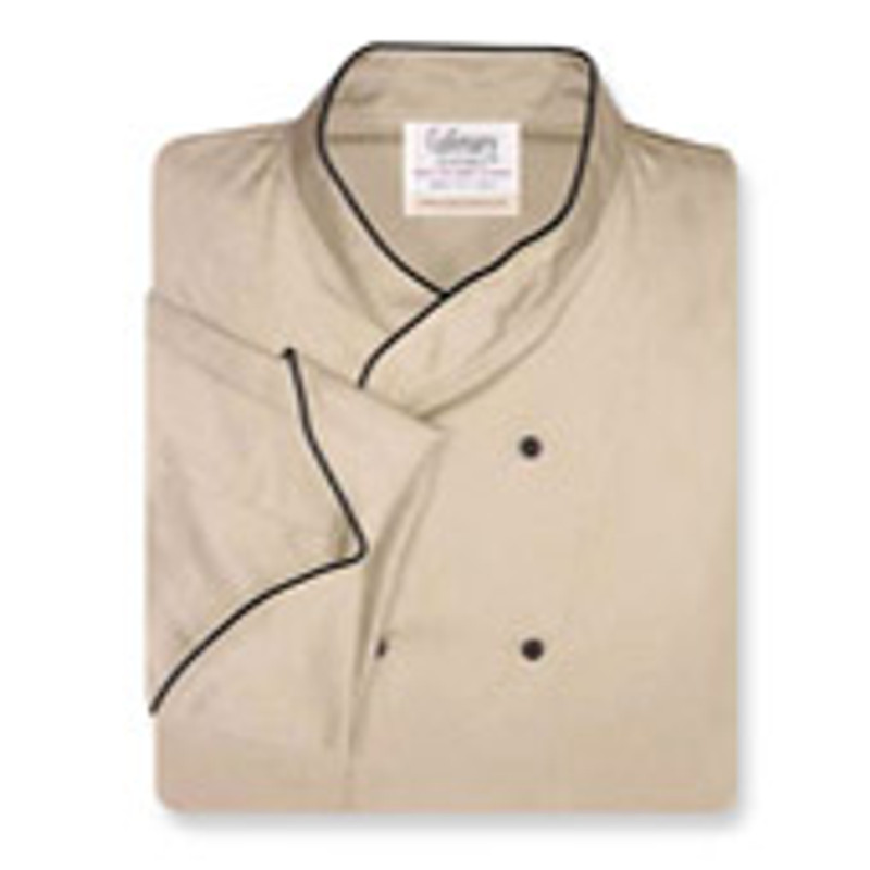 Imperial Chef Coat in Khaki Cotton Twill with Black Accents
