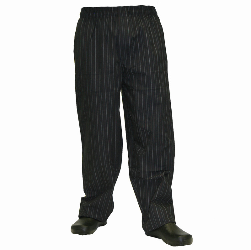 Baggy Chef Pants in Red & White Pinstripe