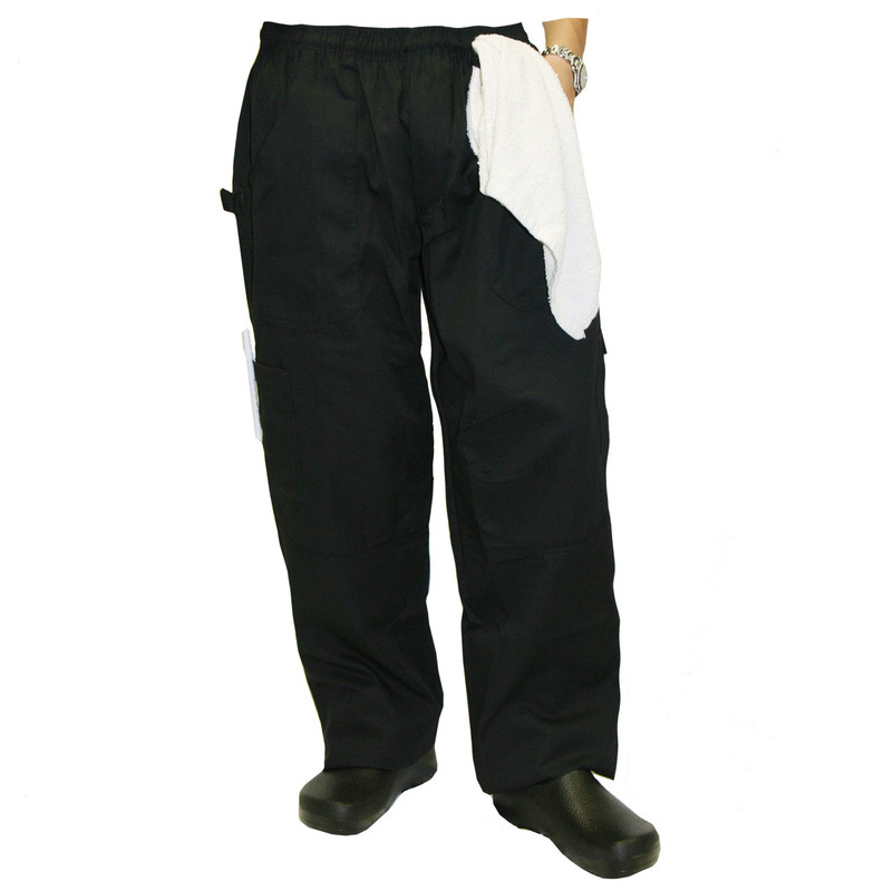 Grunge Cargo Chef Pants in Black