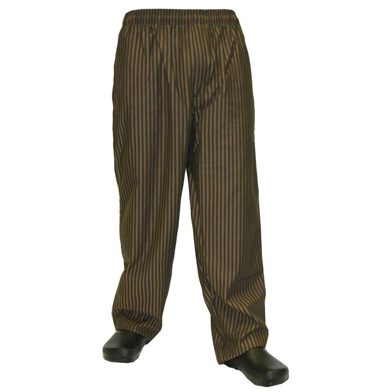 Baggy Chef Pants in Copper & Black Stripe