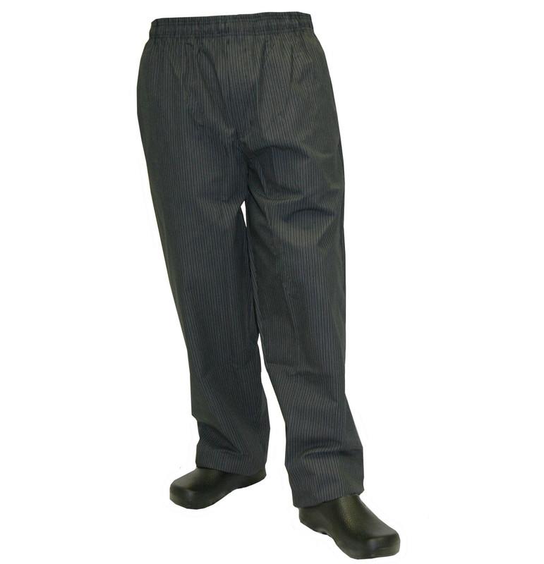 Baggy Chef Pants in Grey Triple Stripe