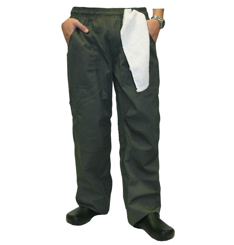 Grunge Cargo Chef Pants in Olive