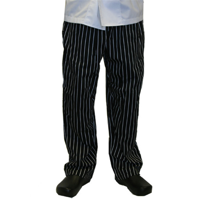 Classic Chef Pants in 100% Cotton Big Black and White Pinstripe