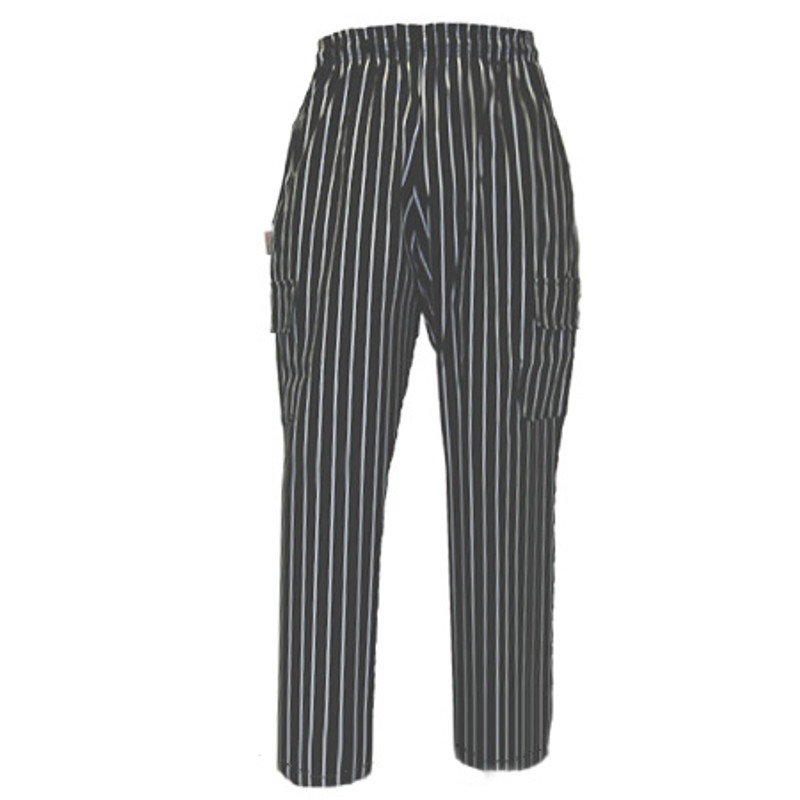 Cargo Chef Pants in Big Black and White Stripe