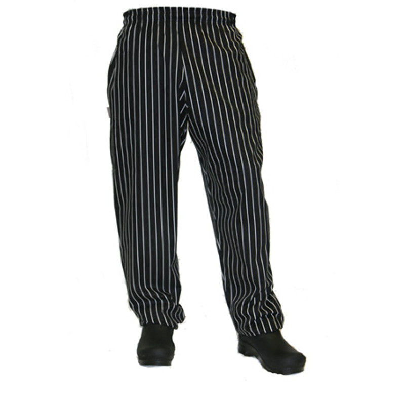 Baggy Chef Pants in Big Black and White Stripes
