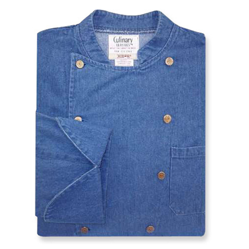 Traditional Chef Coat in Blue Denim with Copper Closures