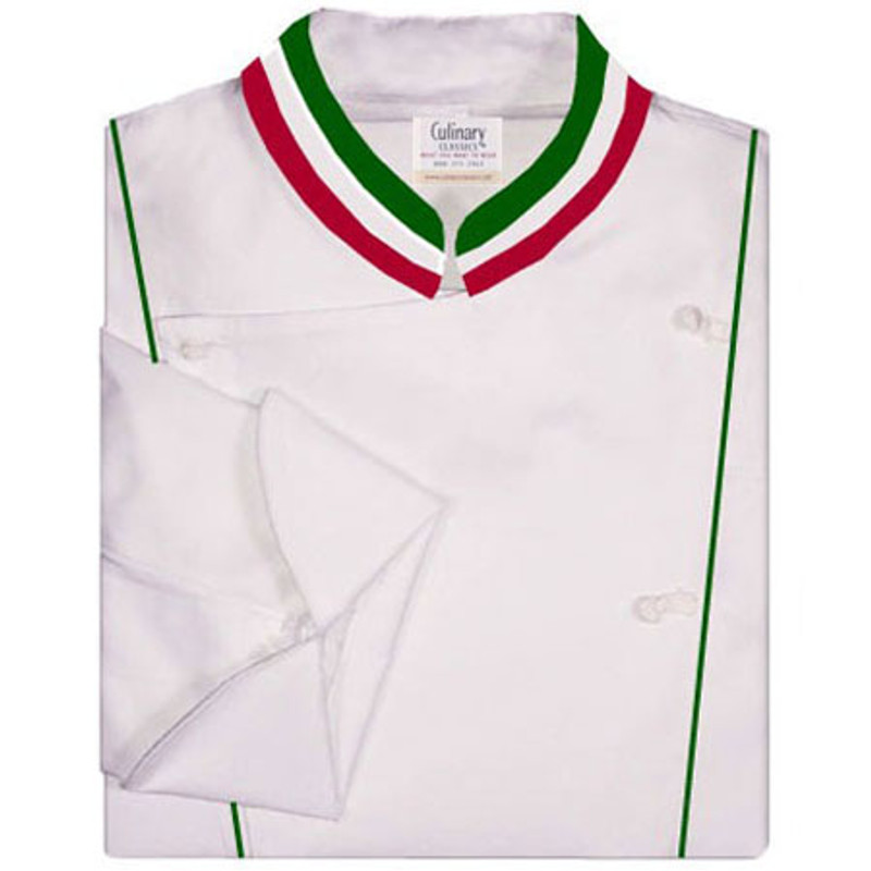 Corded Chef Coat in White with green, red and white accents