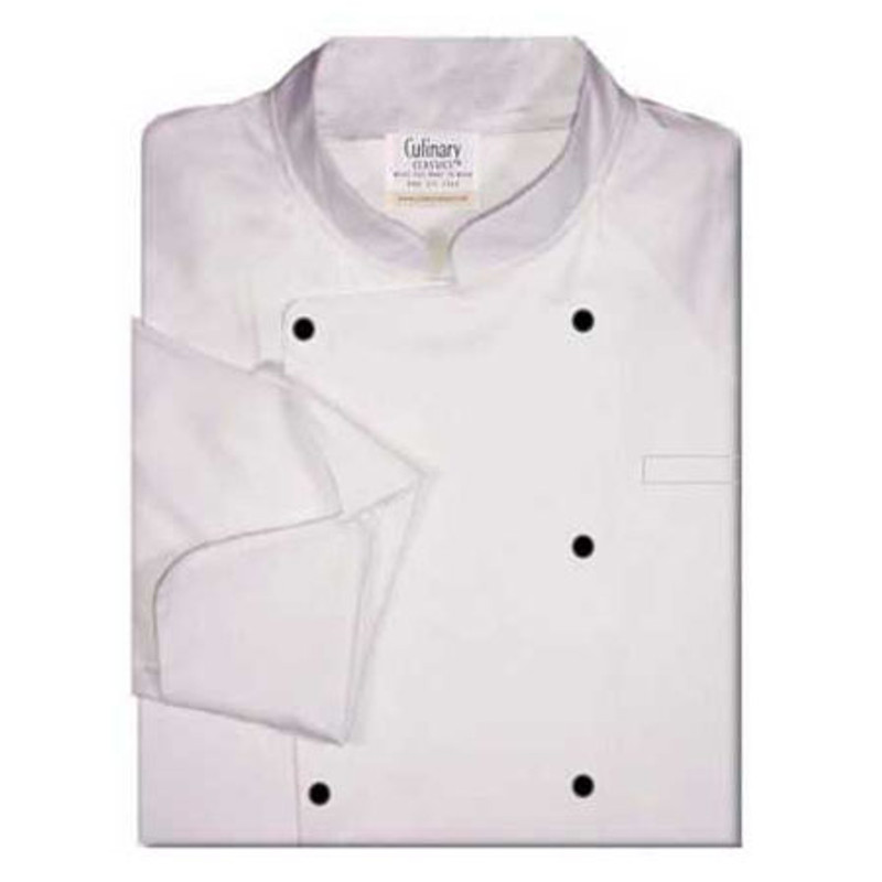 Raglan Chef Coat in White Poplin with Black Stud Buttons