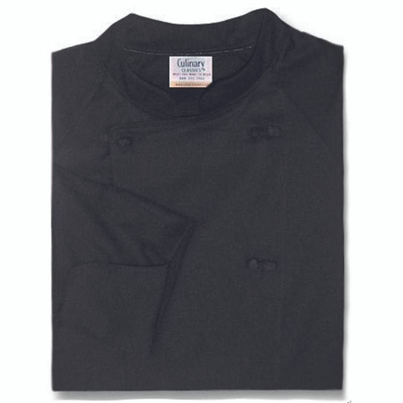Raglan Chef Coat in Black Cotton Twill with Knot Buttons