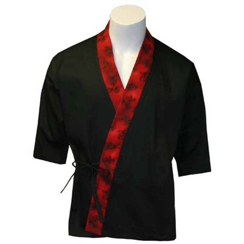 Sushi Chef Coat in Black Cotton Twill with Forest Red Trim