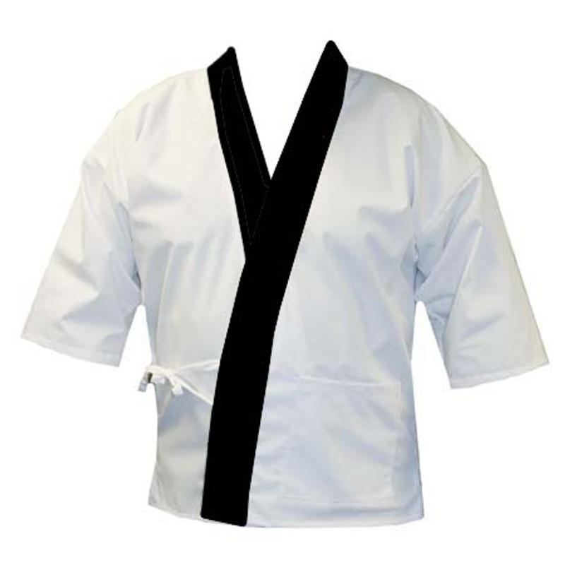 Sushi Chef Coat in White Poplin with Black Trim