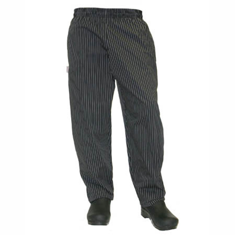 Baggy Chef Pants in Black or Chocolate Pinstripe