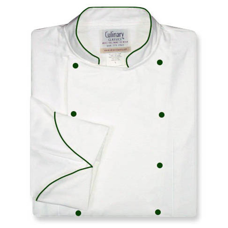 Women's Traditional Coat in White with Spruce Green Accents