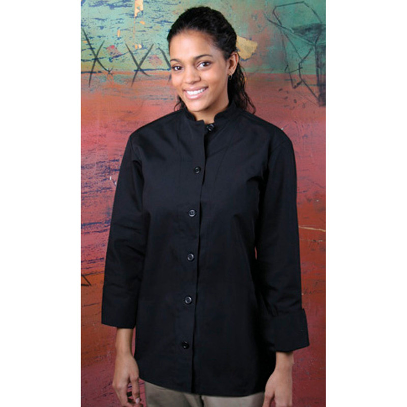 Women's Mandarin Coat in Black Egyptian Cotton