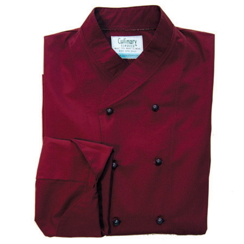 Imperial Chef Coat in Burgundy Poplin with Black Stud Buttons