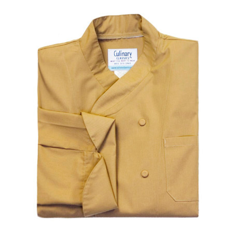 Imperial Chef Coat in Khaki Poplin with Pockets