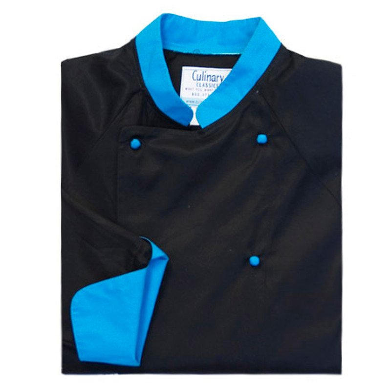Raglan Chef Coat in Black Egyptian Cotton with Peacock Accents
