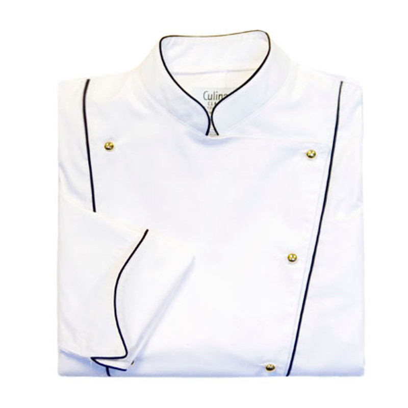 Corded Chef Coat in White poplin with black cording