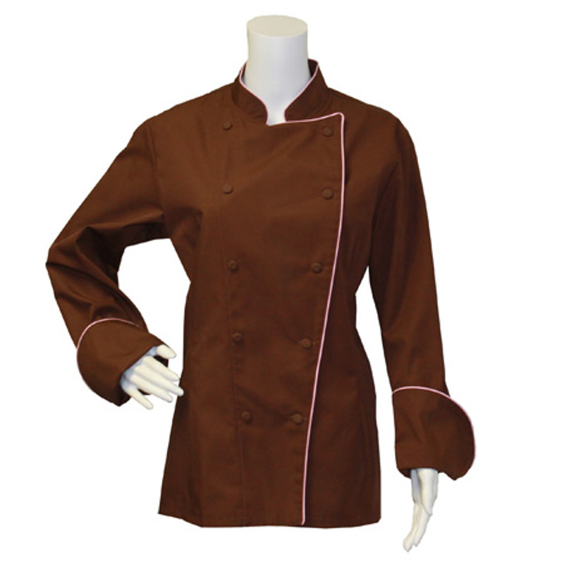 Women's Traditional Coat in Chocolate Poplin with Pink Cording