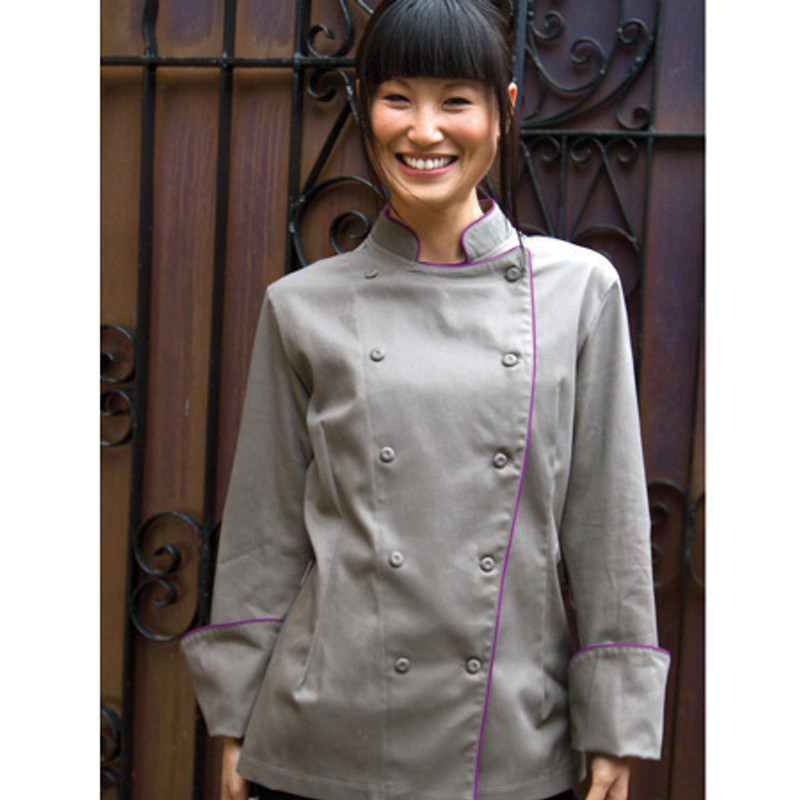 Women's Traditional Coat in Charcoal Twill with Plum Cording