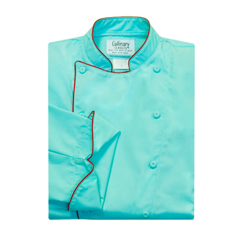 Traditional Chef Coat in Aegean Blue Poplin with Red Cording