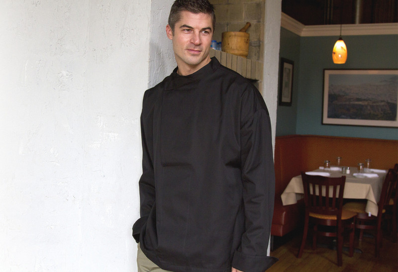 Tunic Chef Coat in Black Cotton Twill