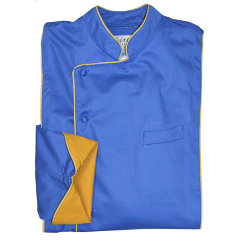 Milan Chef Coat in Marine Blue Organic Cotton with Gold Accents