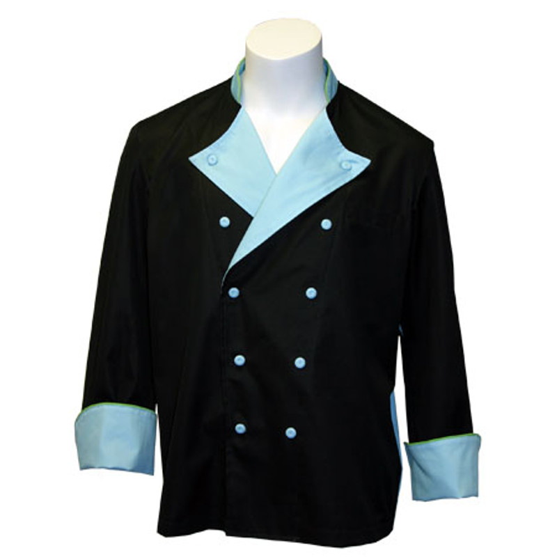 Lucca Chef Coat in Black 100% Egyptian Cotton with Ocean Blue and Lime Green Accents