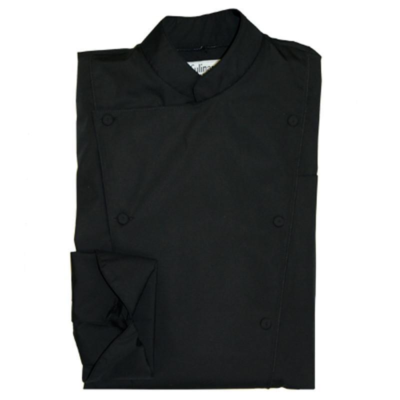 Corded Chef Coat in Black Poplin with Black Cording