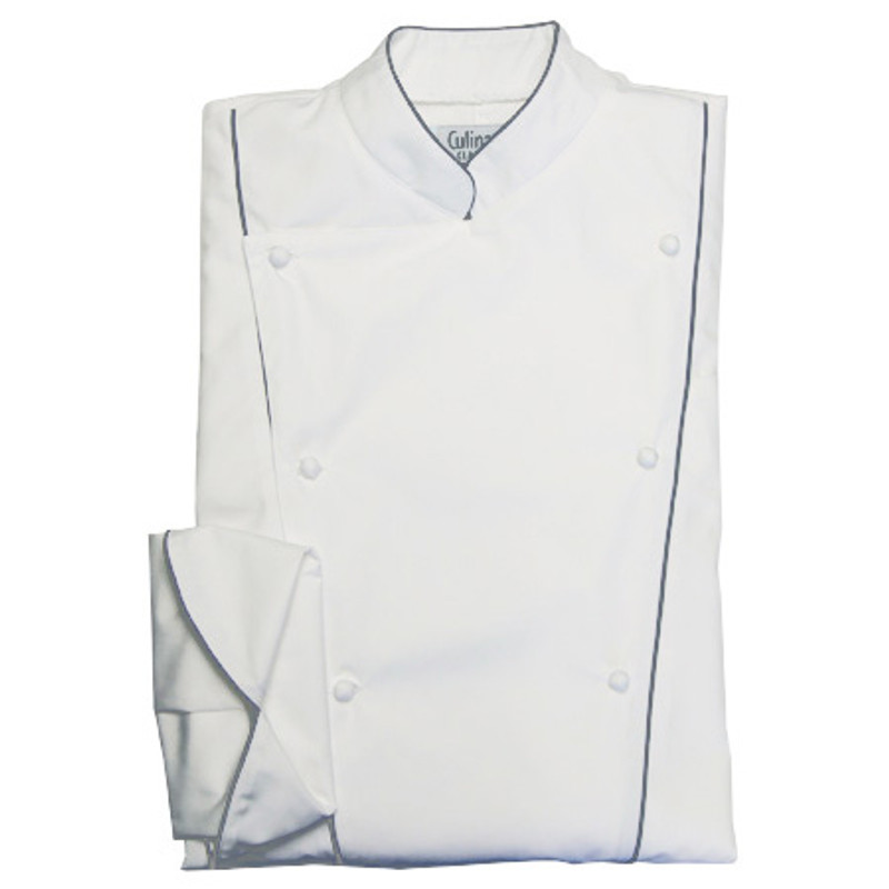 Corded Chef Coat in White Poplin with Grey Cording
