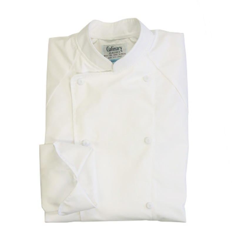Raglan Chef Coat in White 100% Egyptian Cotton