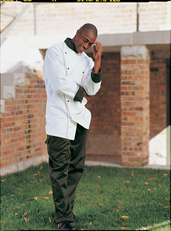 Corded Chef Coat in White Egyptian Cotton with Black Accents