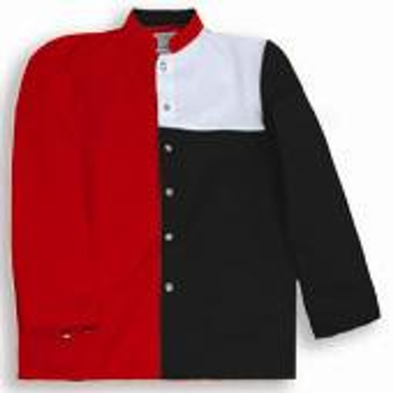 Tri-Color Chef Coat in Bright Red, White, and Black