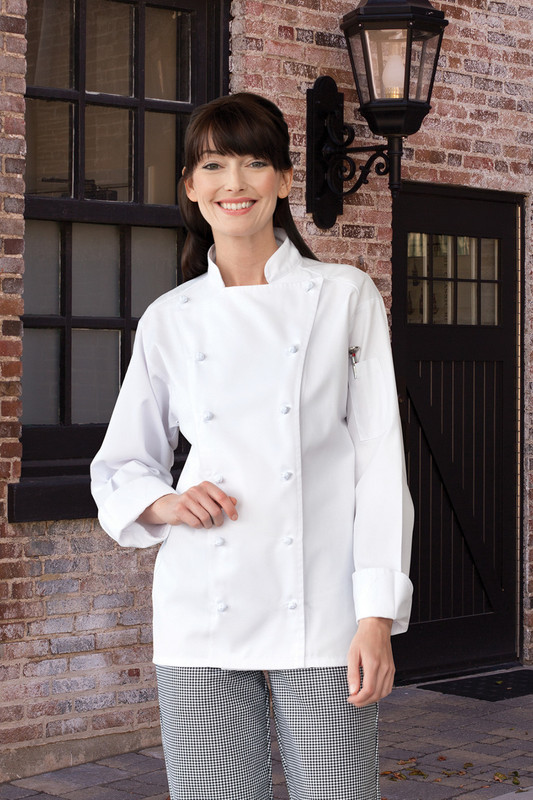 Women's White Entree Chef Coat with Knot Buttons