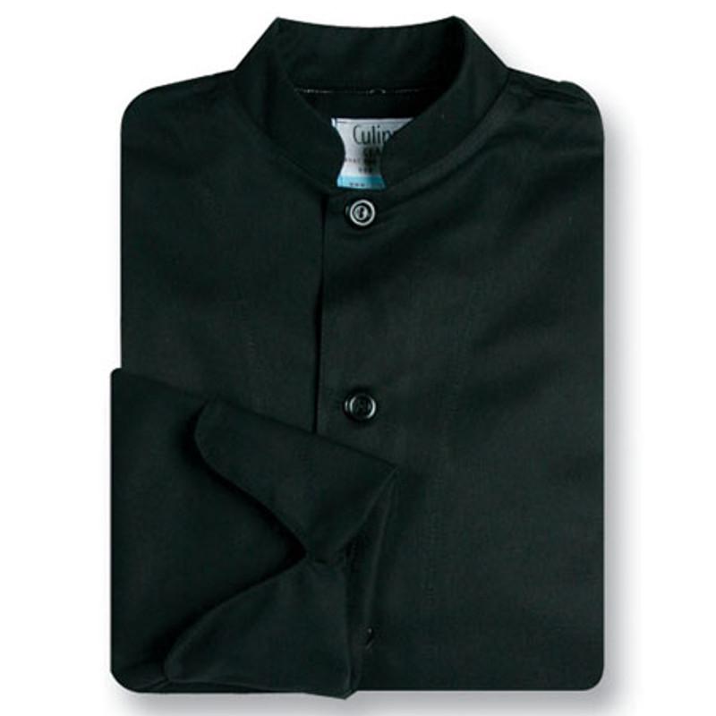 Mandarin Chef Coat in Black Fineline Twill
