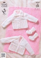 Premature Baby Cardigan, Pram Cover and Booties DK Pattern | King Cole DK 2914