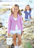 Childs Jacket and Gilet Aran Pattern | Sirdar Supersoft Aran 2409