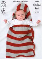 Baby / Childrens Bolero, Snuggle Bag, Hat & Booties DK Pattern   King Cole DK 3742