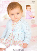 4 Ply Crochet Pattern for Babies / Childs Cardigans - Sirdar Snuggly 4 Ply 1901 - Image of the pattern