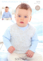 Babies / Childs Sweater and Tank Top 4 Ply Pattern| Sirdar Snuggly 4 Ply 1879