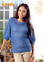 Batwing Sweater Chunky Knitting Pattern | Wendy Supreme Cotton Chunky 5712